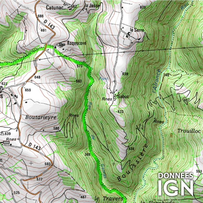 Département IGN - Aveyron 12 - 1 : 25 000