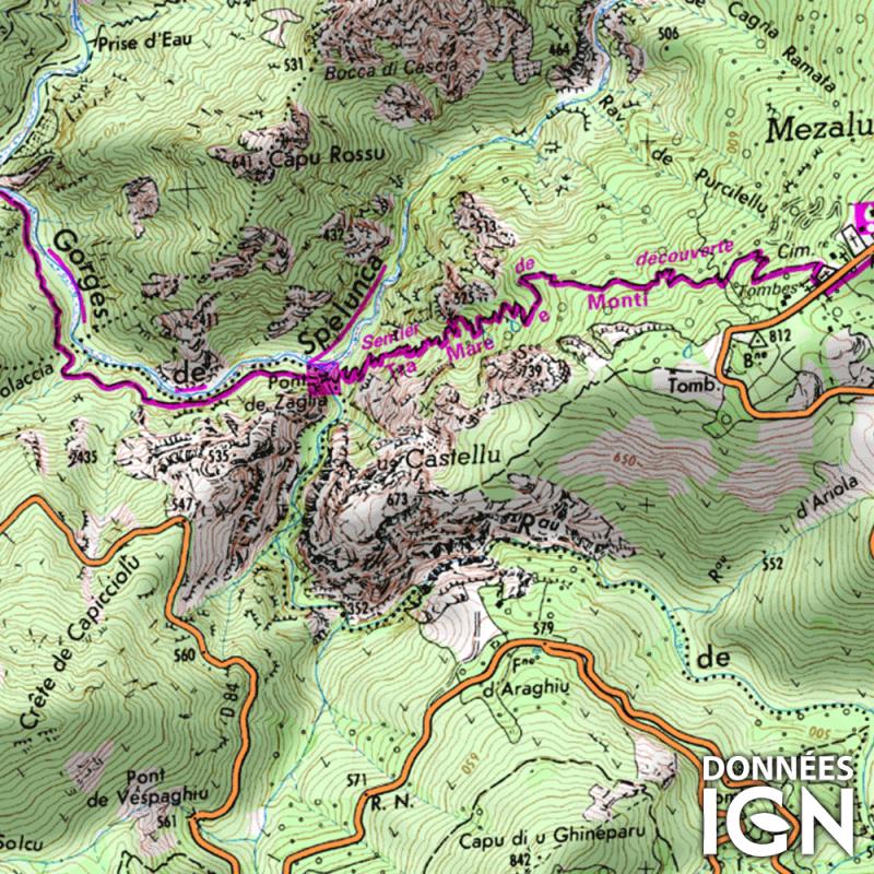 Département IGN - Corse du Sud 2A - 1 : 25 000