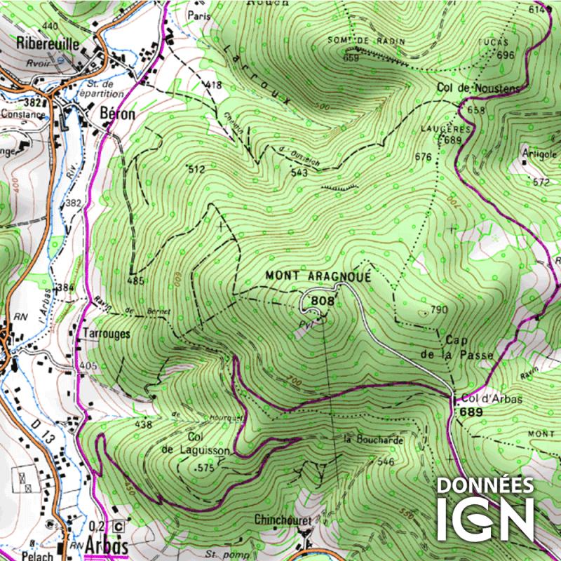 Carte IGN au 1 : 25 000 pour GPS - Haute Garonne