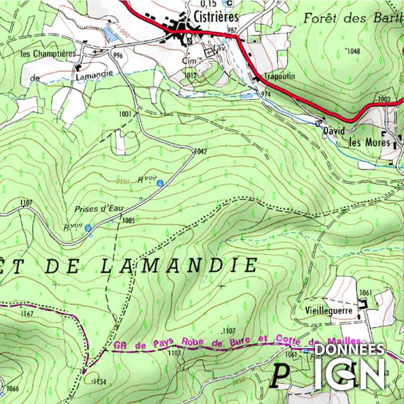 Département IGN - Haute-Loire 43 - 1 : 25 000
