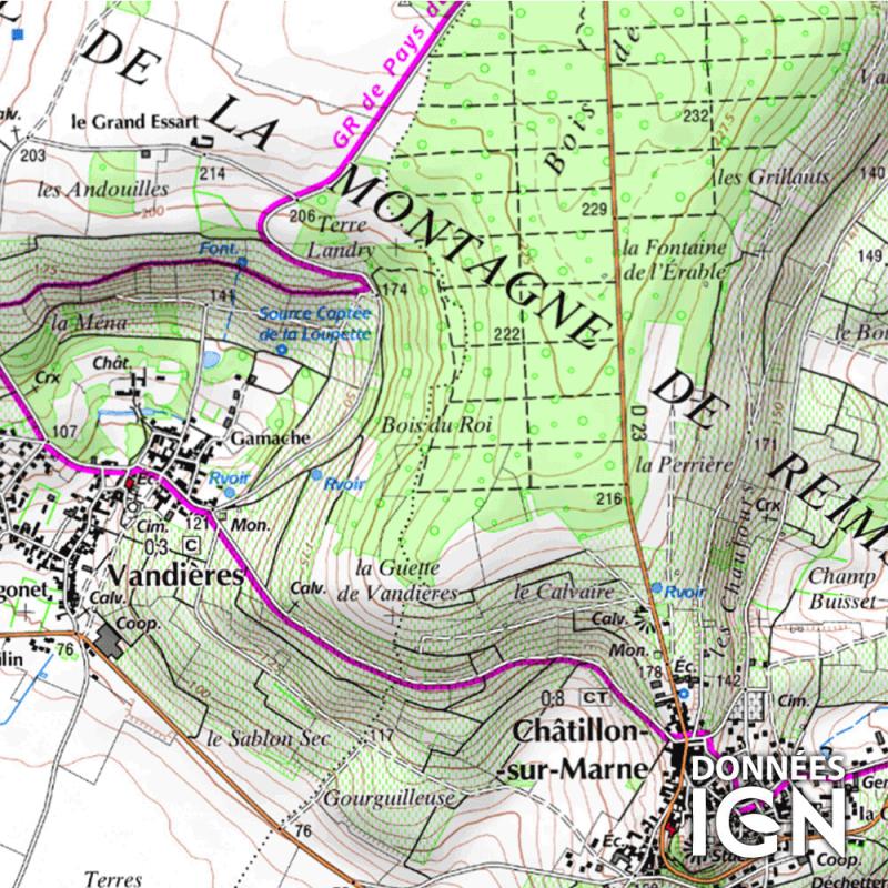Département IGN - Marne 51 - 1 : 25 000