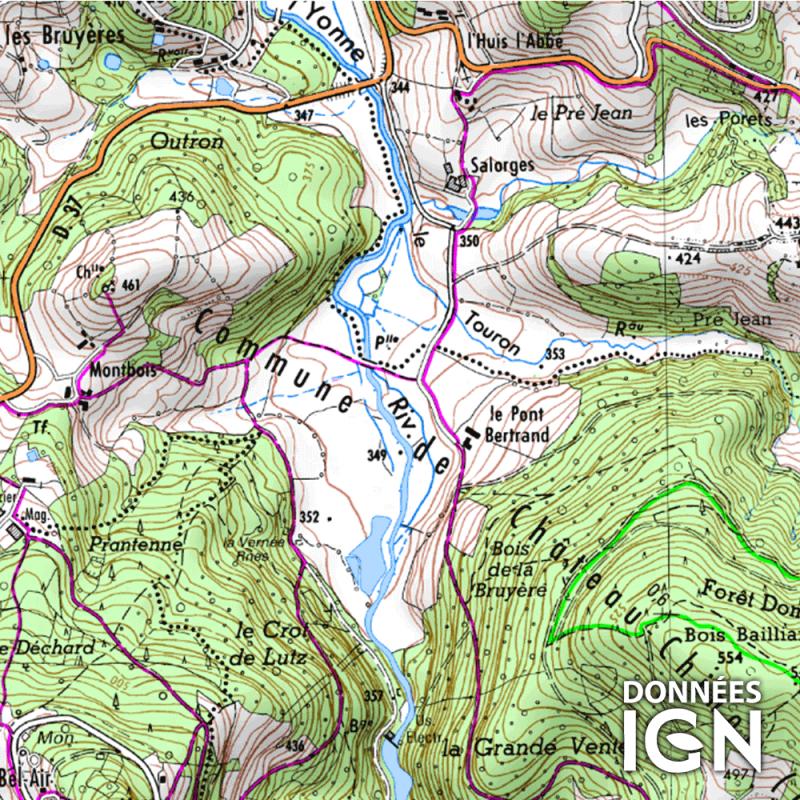 Département IGN - Nièvre 58 - 1 : 25 000