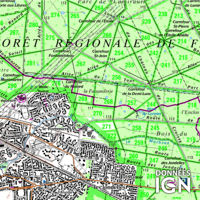 Département IGN - Seine-Saint-Denis 93 - 1 : 25 000