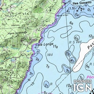 Carte marine IGN et SHOM - littoral Méditerranéen