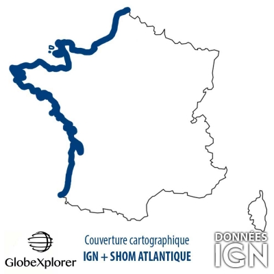 Carte marine Atlantique - IGN/SHOM - 1 : 25 000 - GlobeXplorer