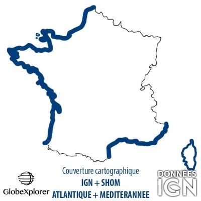 Carte marine Atlantique + Méditerranée - IGN/SHOM - 1 : 25 000 - GlobeXplorer