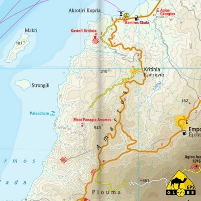 Rhodes - Carte touristique - 1 : 80 000