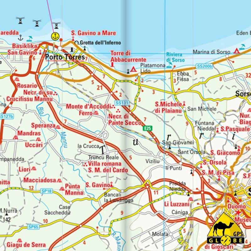Carte Italie Et Sardaigne.Gps Globe Carte Touristique De La Sardaigne Italie