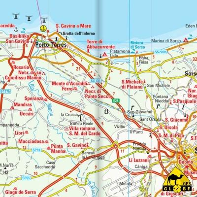 Sardaigne (Italie) - Carte touristique - 1 : 200 000