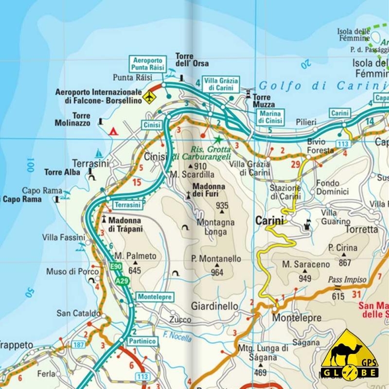 Carte Sicile.Gps Globe Carte Touristique De La Sicile Italie