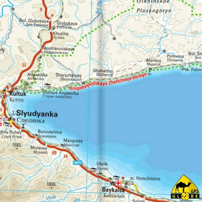 Lac Baikal (Russie) - Carte voyage - 1 : 550 000