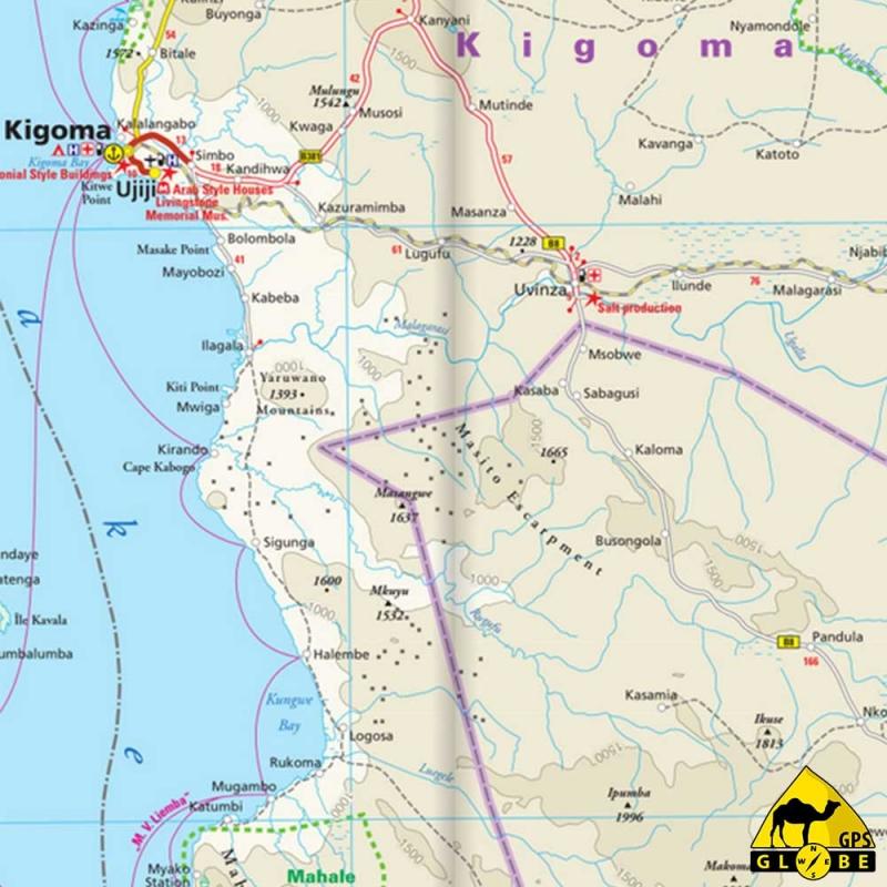 GPS Globe - Carte touristique de la Tanzanie, du Rwanda et du Burundi