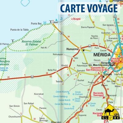 Yucatan (Mexique) - Carte voyage - 1 : 650 000