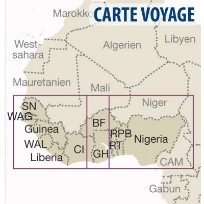 Afrique de l'Ouest (pays côtiers) - Carte voyage - 1 : 2 200 000