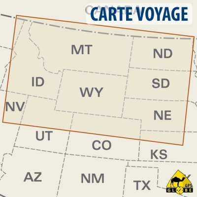 Etats-Unis (Nord) - Carte voyage - 1 : 1 250 000