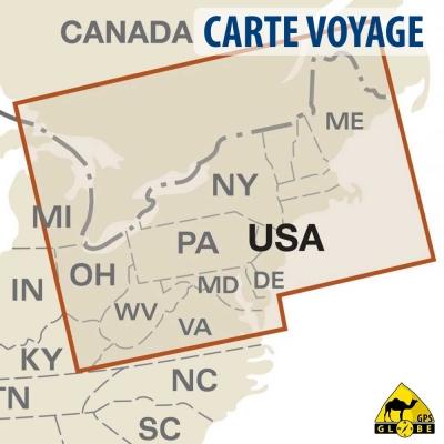 Etats-Unis (Nord Est) - Carte voyage - 1 : 1 250 000