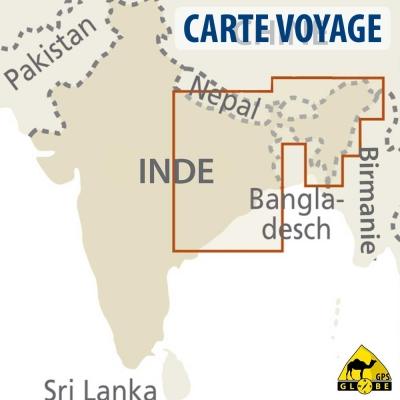 Inde (Nord Est) - Carte voyage - 1 : 1 300 000