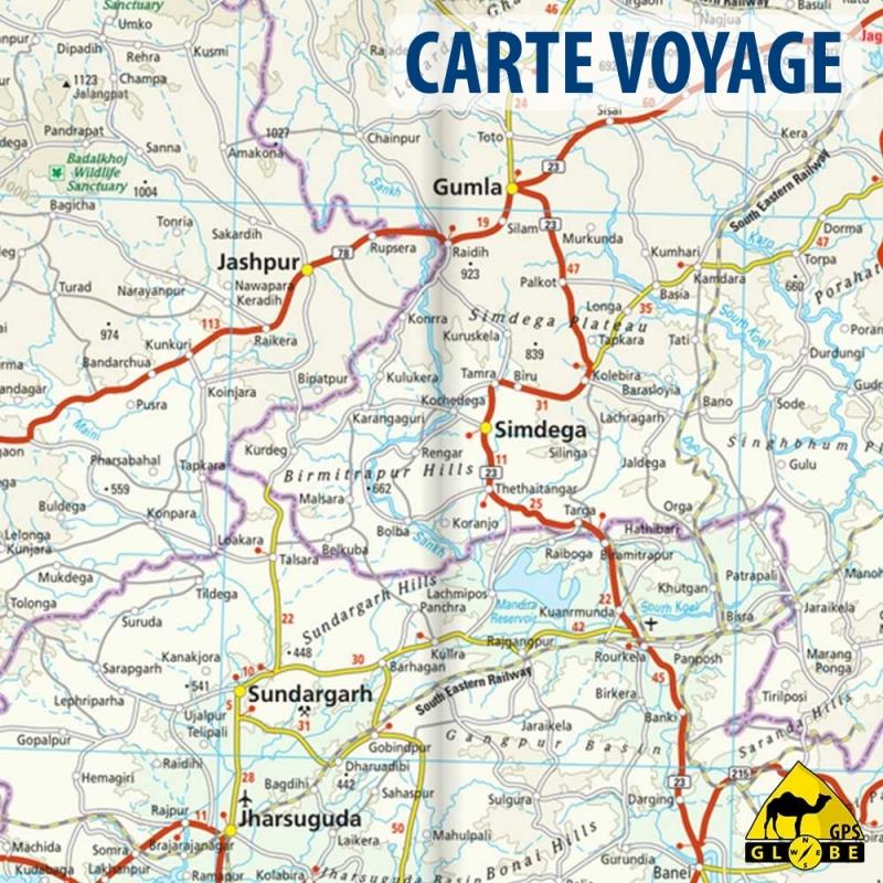 Gps globe carte touristique du nord est de l 39 inde for Carte touristique
