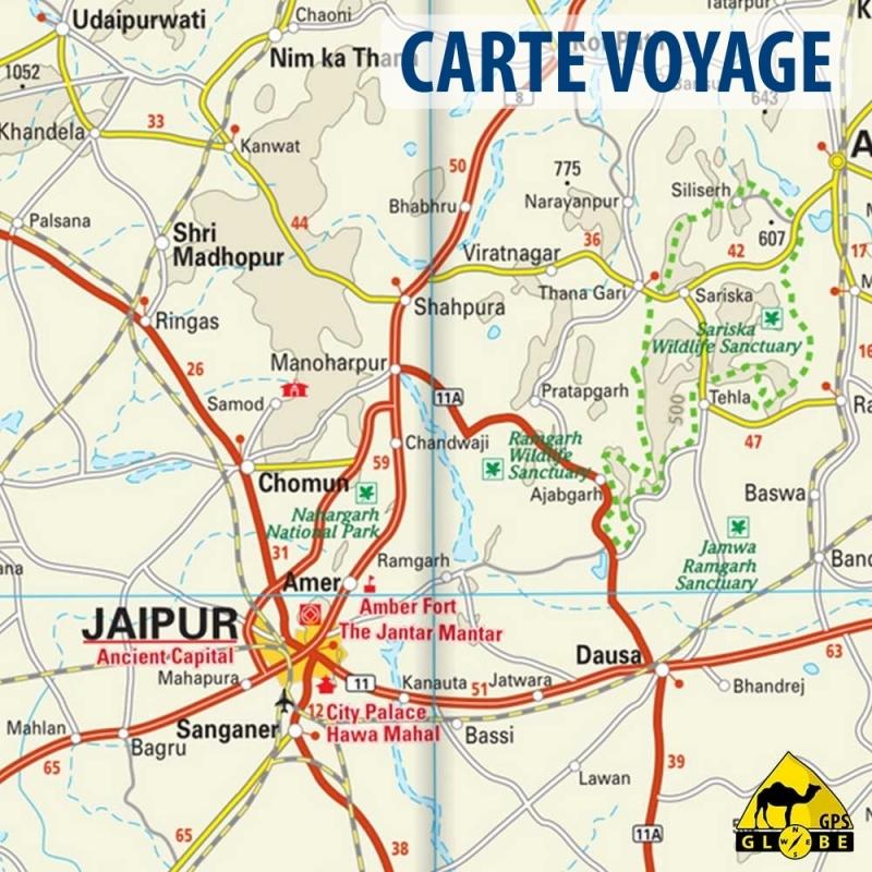Carte Touristique De Linde Du Nord.Inde Nord Ouest Carte Voyage 1 1 300 000