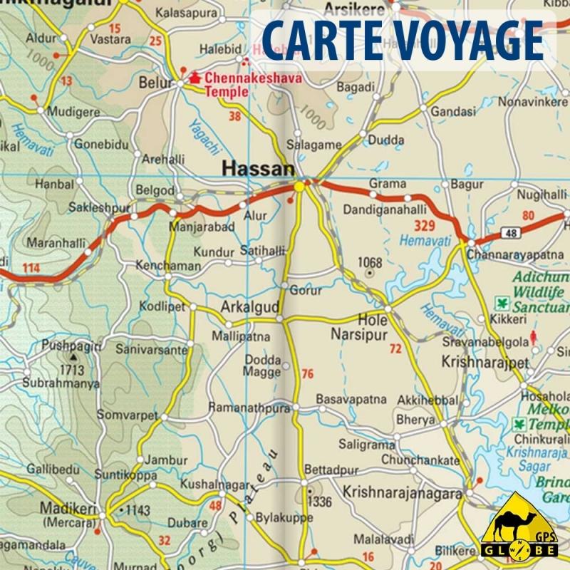 GPS Globe - Carte touristique du sud de l'Inde