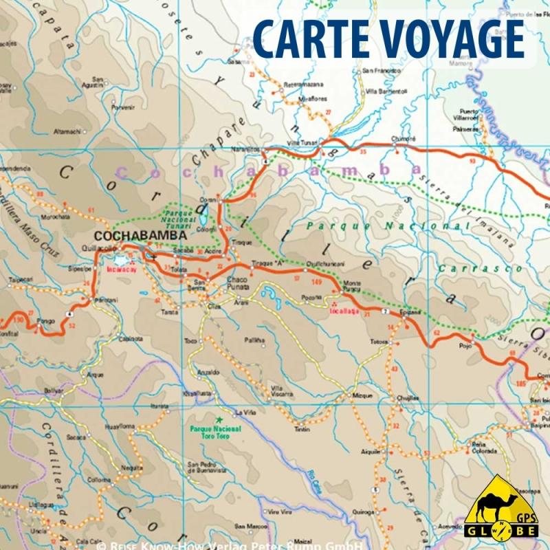 Bolivie - Carte voyage- 1 : 1 300 000
