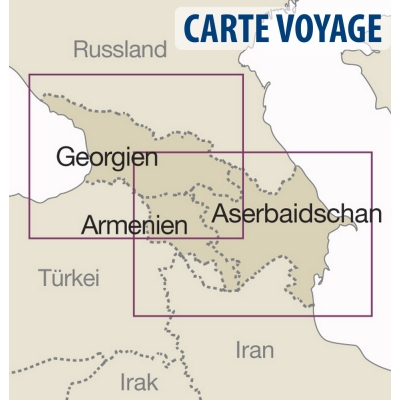Caucase (Arménie / Géorgie / Azerbaijan) - Carte voyage - 1 : 650 000