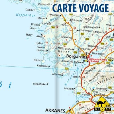 Islande - Carte voyage - 1 : 425 000