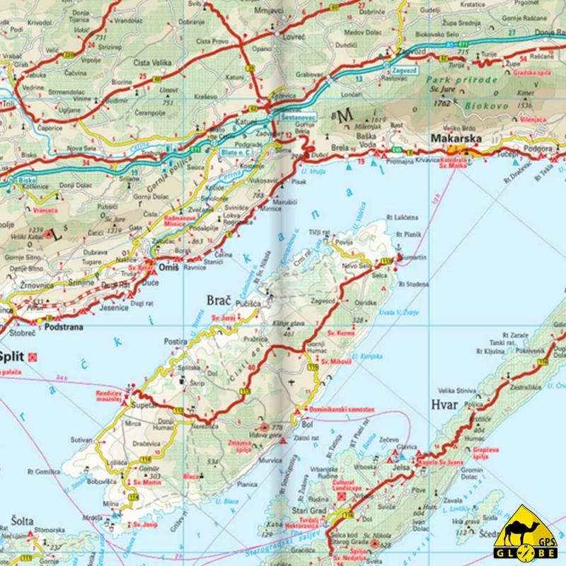 GPS Globe   Carte touristique de la Croatie au 1 : 300 000