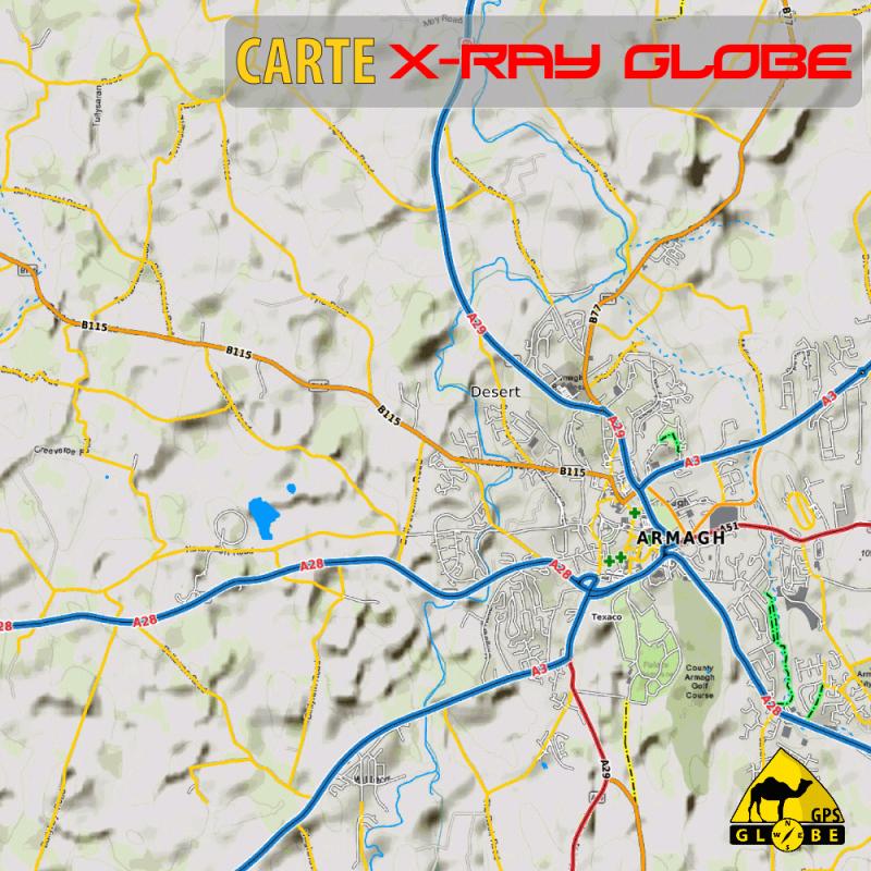 Irlande - X-Ray Globe 1 : 30 000 Topo Relief