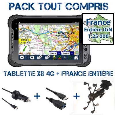Tablette X8 4G Pack Navigation + France Entière IGN