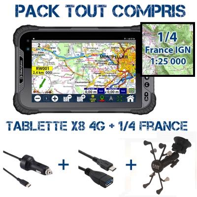Tablette X8 4G Pack Navigation + 1/4 France IGN