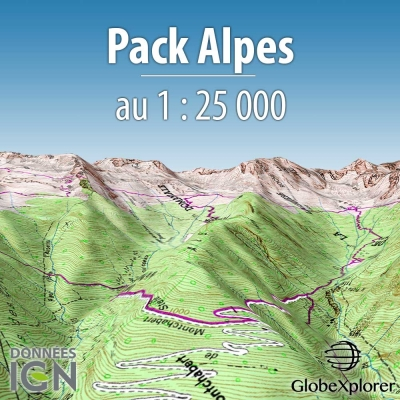 GlobeXplorer - Pack Alpes : France / Suisse / Italie - 1 : 25 000